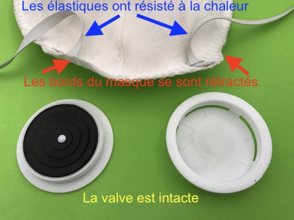 Masque jetable FFP2 après passage à 175°C dans un four